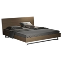 Modloft Broome Platform Modern Bed in Latte Walnut with Brushed Stainless Steel Base