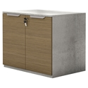 Modloft Broome Latte Walnut + Concrete + Brushed Steel Modern Storage Cabinet
