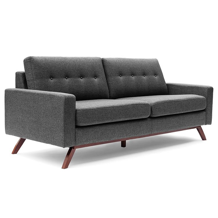 Bruce Gray Fabric + Solid Wood Modern Sofa