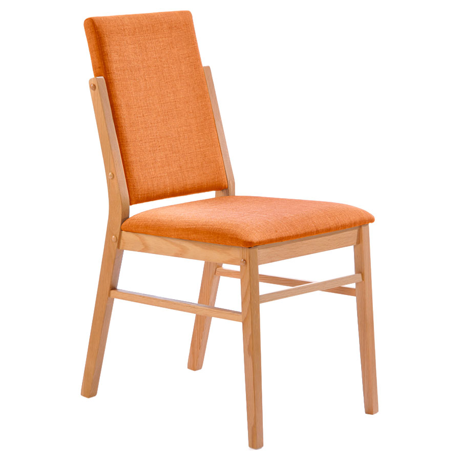 Brunswick Modern American White Oak + Orange Dining Chair