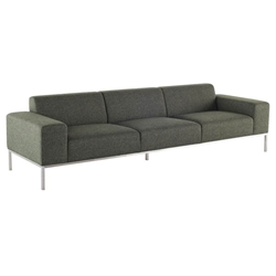 Bryce Hunter Green Tweed Fabric + Brushed Stainless Steel Modern Sofa