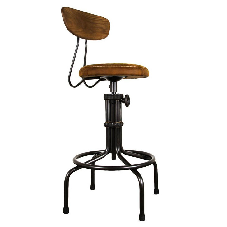 Buck Adjustable Stool With Umber Leather And Matte Black Steel Contemporary Adjustable Height Bar + Counter Stool Nubuck