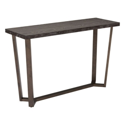Burton Gray Oak Finish Top Antiqued Brass Finish Metal Bottom Modern Console Table