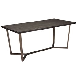 Burton Gray Oak Wood Top + Antique Brass Finish Base Rectangle Modern Dining Table