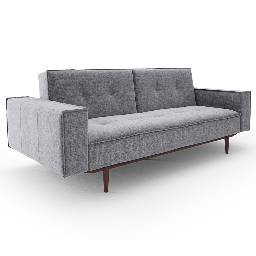 Butrus Gray Fabric + Solid Wood Modern Sleeper Sofa
