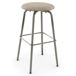 Amisco Button Swivel Bar Stool - Titanium Metal + Pebble Fabric
