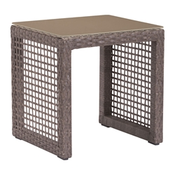 Cabeza Synthetic Weave + Tempered Glass Modern Outdoor End Table