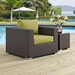 Cabo Contemporary Espresso + Green Outdoor Armchair