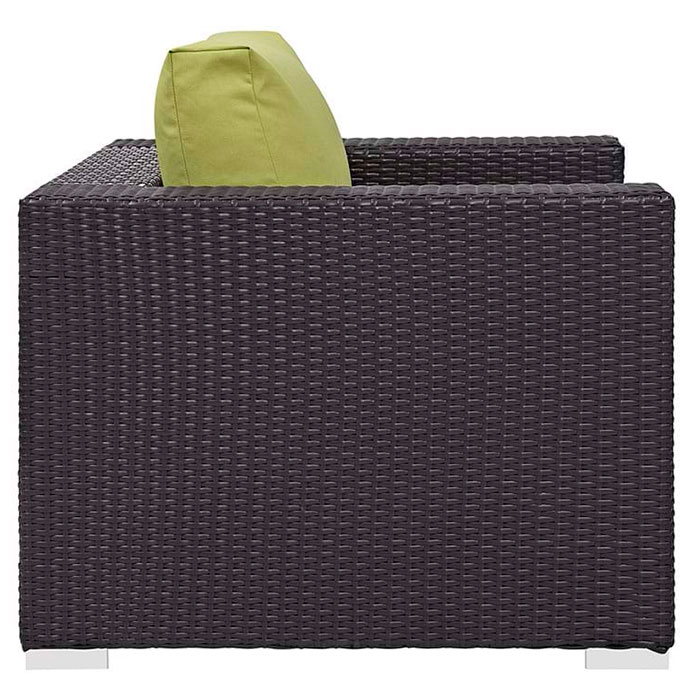 Cabo Modern Espresso + Green Outdoor Armchair - Side View