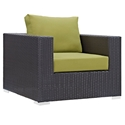 Cabo Modern Espresso + Green Outdoor Armchair