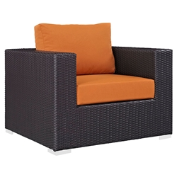 Cabo Modern Espresso + Orange Outdoor Armchair