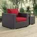Cabo Contemporary Espresso + Red Outdoor Armchair