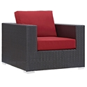 Cabo Modern Espresso + Red Outdoor Armchair
