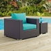 Cabo Contemporary Espresso + Turquoise Outdoor Armchair