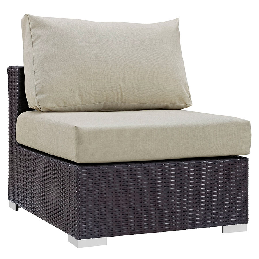 Cabo Modern Espresso + Beige Outdoor Armless Chair
