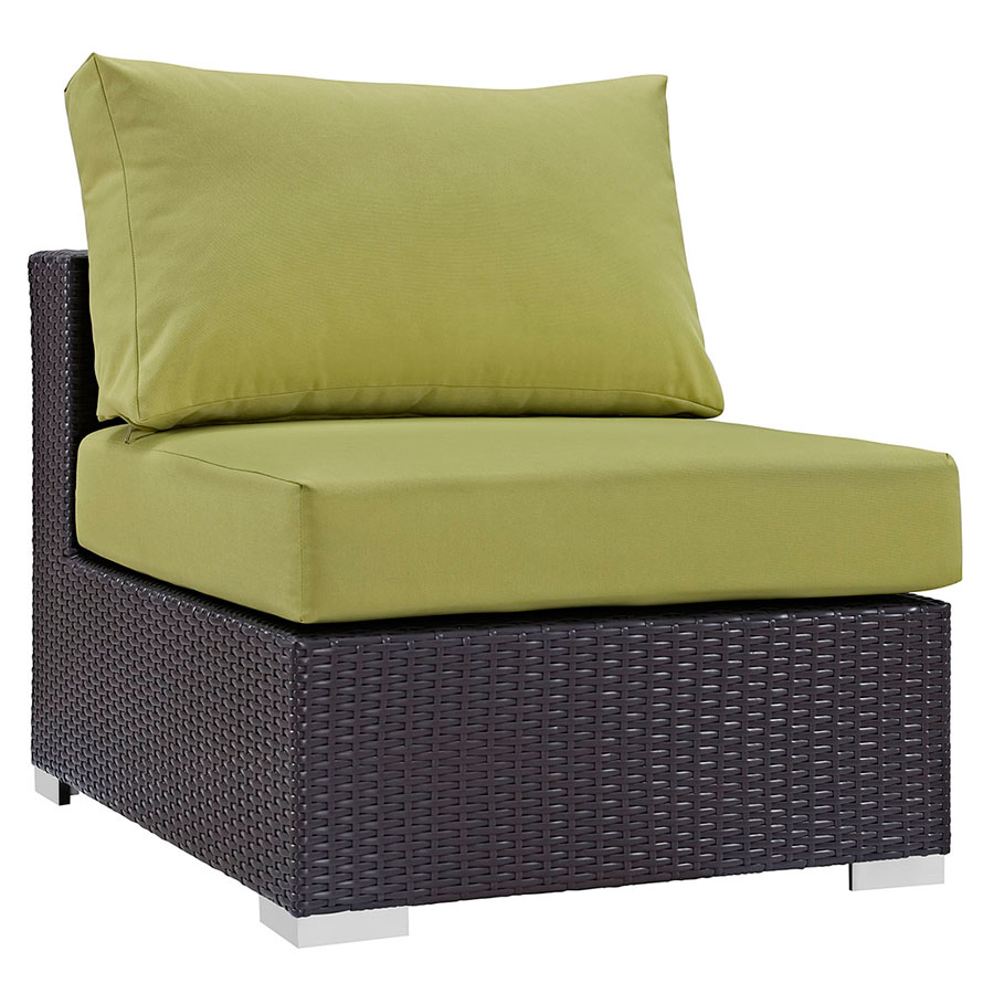 Cabo Modern Espresso and Green Outdoor Armless Chair