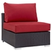 Cabo Modern Espresso and Red Outdoor Armless Chair