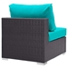 Cabo Modern Espresso and Turquoise Outdoor Armless Chair - Back View
