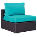 Cabo Modern Espresso and Turquoise Outdoor Armless Chair