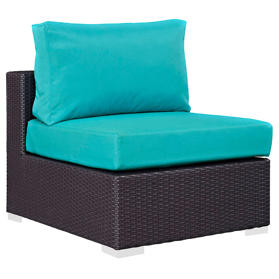 Call to Order · Cabo Modern Espresso and Turquoise Outdoor Armless Chair  sc 1 st  Eurway : teal armless chair - Cheerinfomania.Com