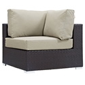 Cabo Modern Espresso and Beige Outdoor Corner Chair