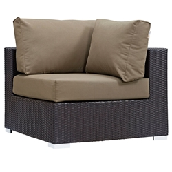 Cabo Modern Espresso and Mocha Outdoor Corner Chair