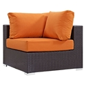 Cabo Modern Espresso and Orange Outdoor Corner Chair