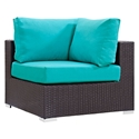 Cabo Modern Espresso and Turquoise Outdoor Corner Chair