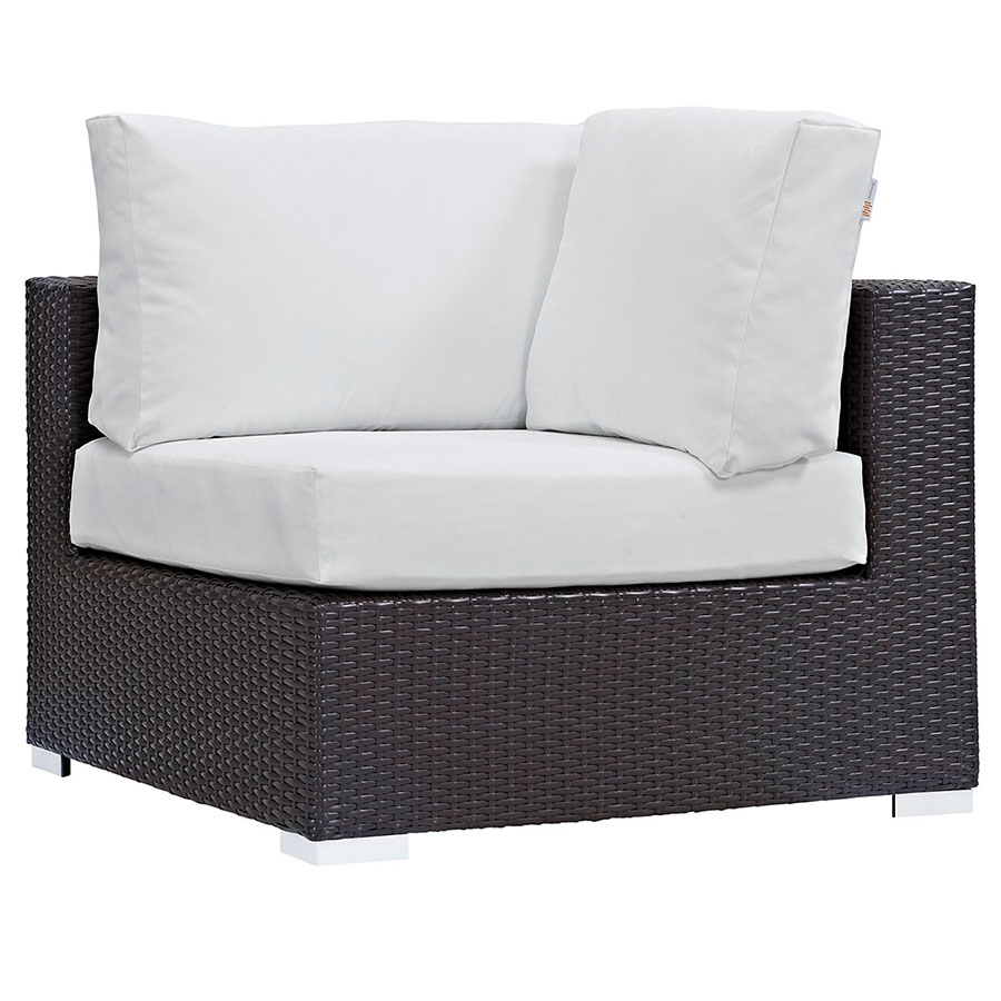 Cabo Modern Espresso and White Outdoor Corner Chair