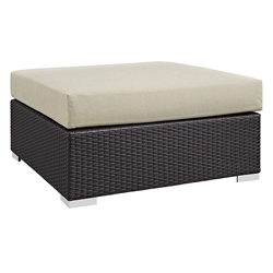 Cabo Large Square Outdoor Modern Ottoman - Beige