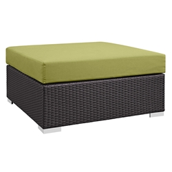 Cabo Large Square Outdoor Modern Ottoman - Green
