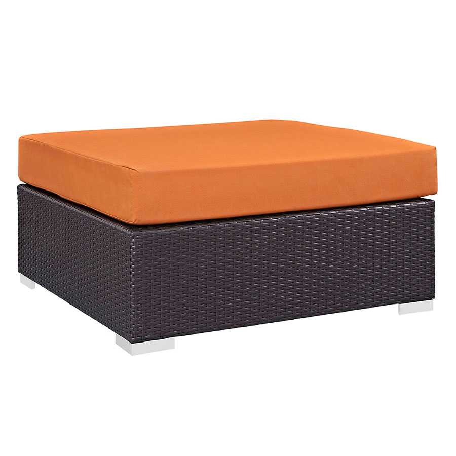 Cabo Large Square Outdoor Modern Ottoman - Orange