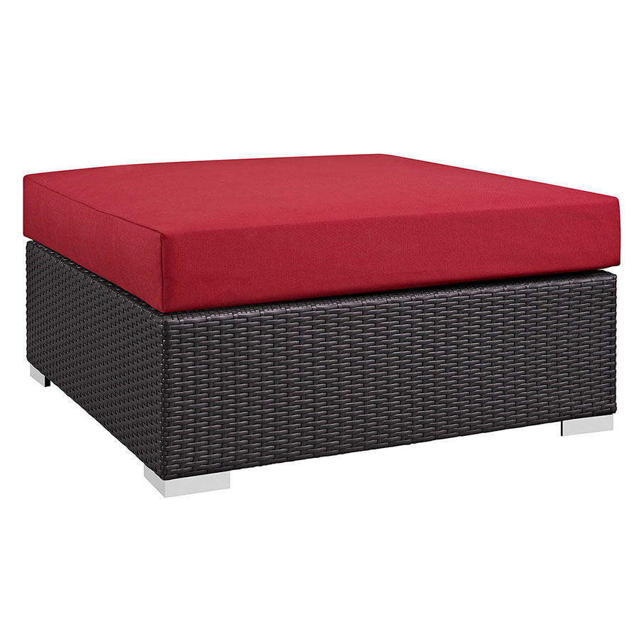 Cabo Modern Outdoor Red Lg Square Ottoman Eurway