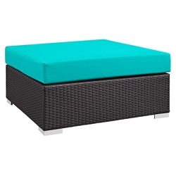 Cabo Large Square Outdoor Modern Ottoman - Turquoise