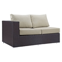 Cabo Modern Outdoor Left Arm Loveseat - Espresso + Beige