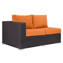Cabo Modern Outdoor Left Arm Loveseat - Espresso + Orange