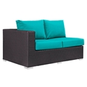Cabo Modern Outdoor Left Arm Loveseat - Espresso + Turquoise