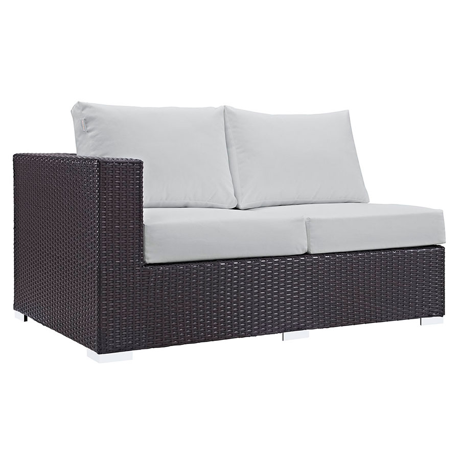 Cabo Modern Outdoor Left Arm Loveseat - Espresso + White