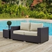 Cabo Contemporary Outdoor Loveseat - Espresso/Beige