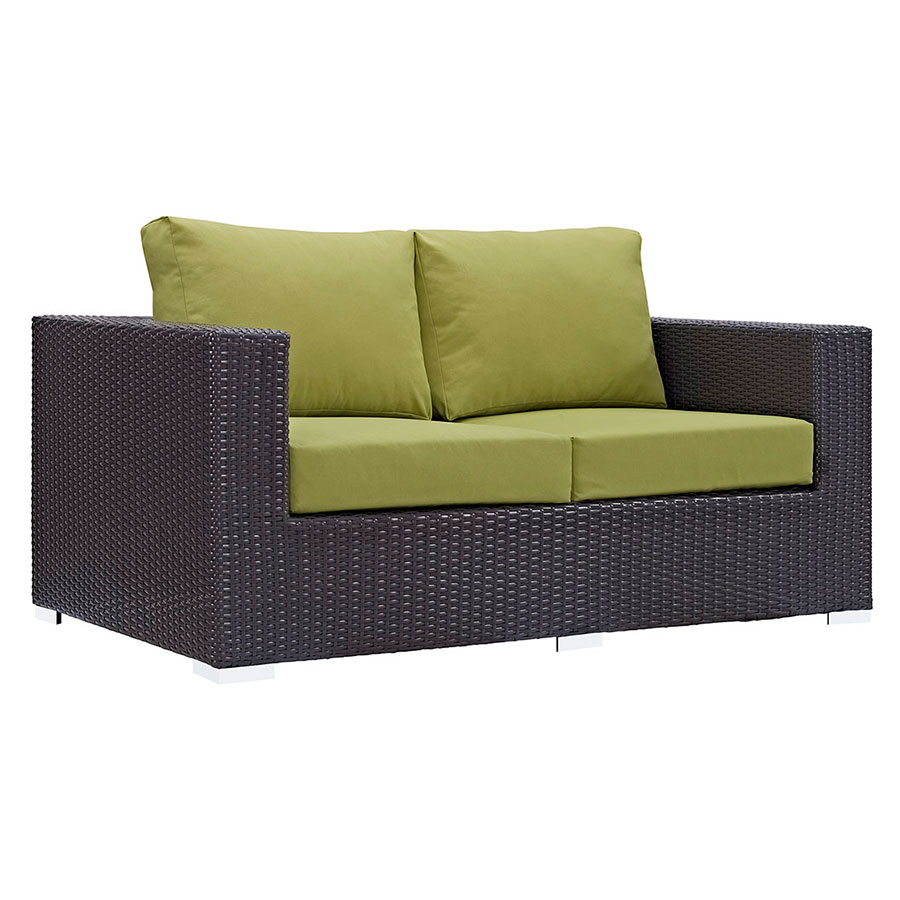 Cabo Modern Espresso and Green Outdoor Loveseat