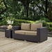 Cabo Contemporary Outdoor Loveseat - Espresso/Mocha