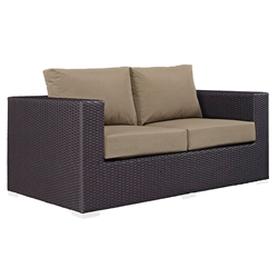 Cabo Modern Espresso and Mocha Outdoor Loveseat