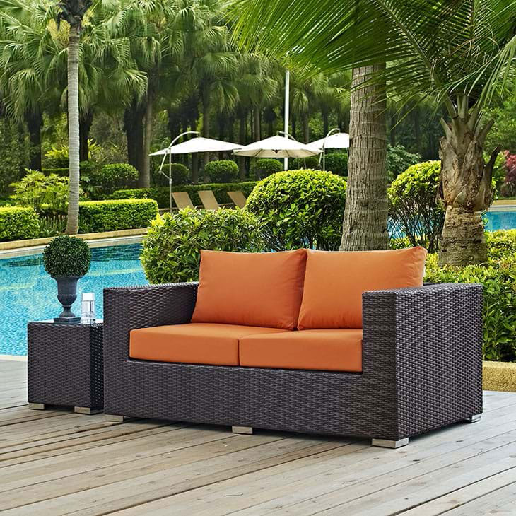 3 Piece Painting On Canvas Wall Art Nyc Street Lights New: Cabo Modern Outdoor Orange Loveseat