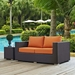 Cabo Contemporary Outdoor Loveseat - Espresso/Orange