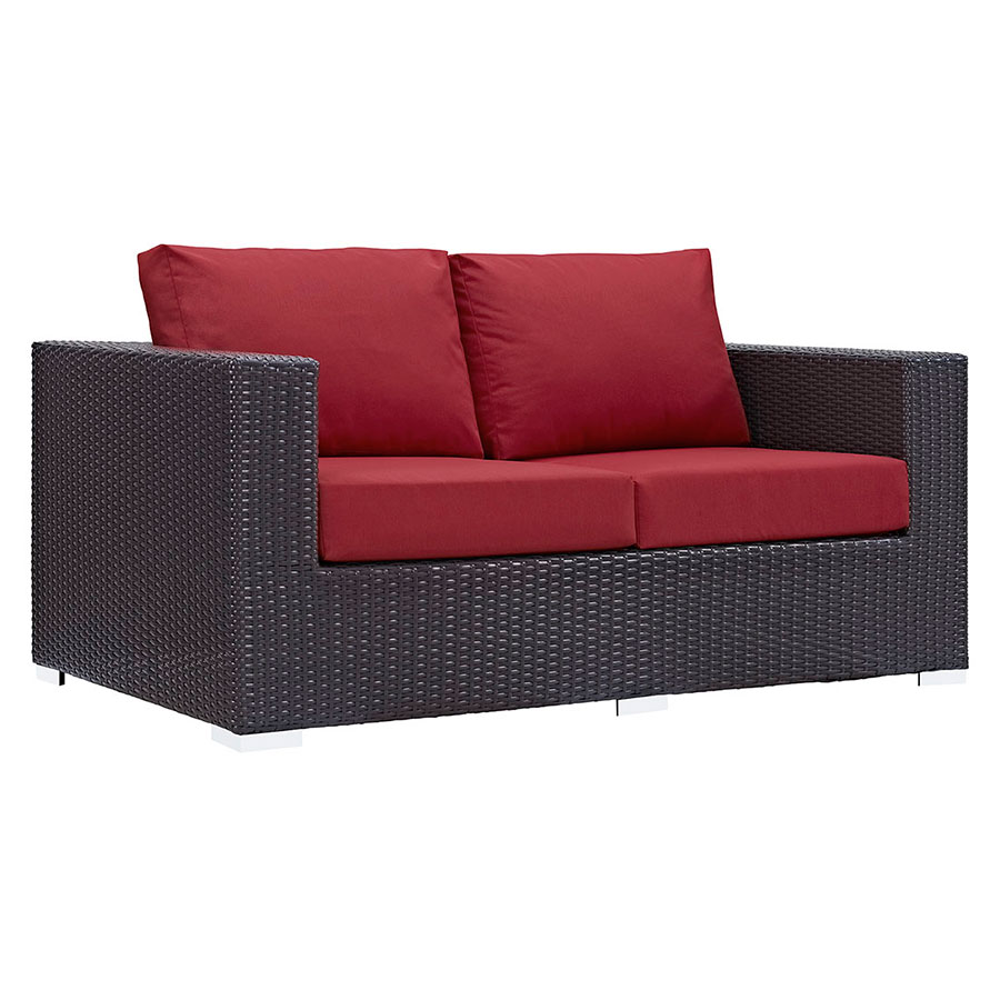 Beau Call To Order · Cabo Modern Espresso And Red Outdoor Loveseat