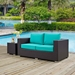 Cabo Contemporary Outdoor Loveseat - Espresso/Turquoise