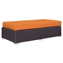 Cabo Modern Outdoor Rectangular Ottoman - Orange