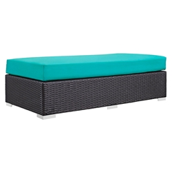 Cabo Modern Outdoor Rectangular Ottoman - Turquoise