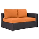 Cabo Modern Outdoor Right Arm Loveseat - Espresso + Orange