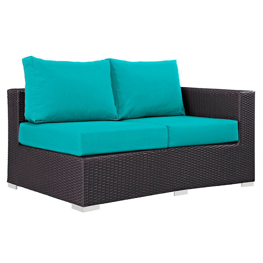 Cabo Modern Outdoor Right Arm Loveseat - Espresso + Turquoise